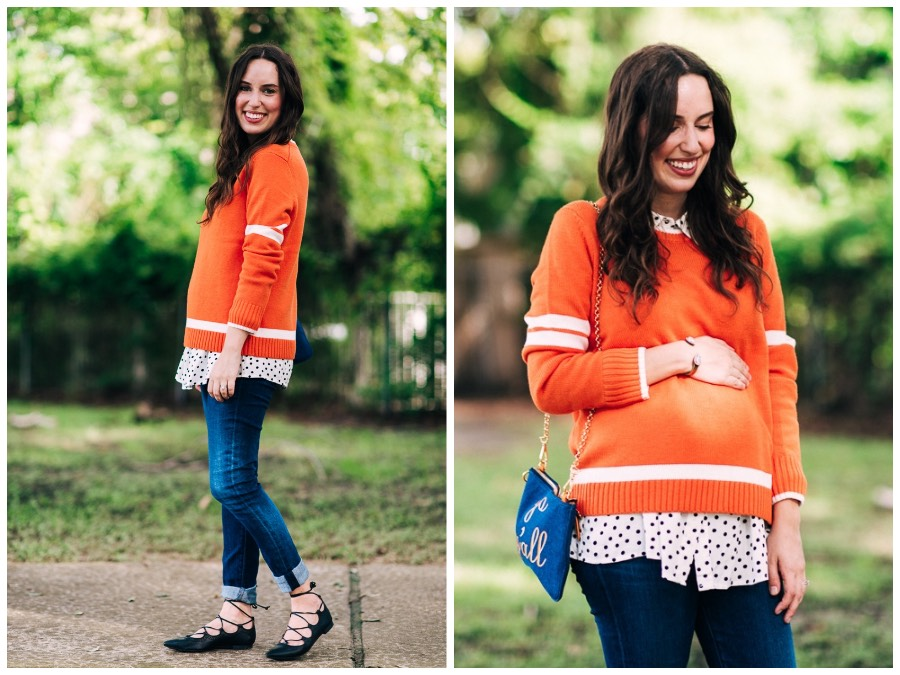 Styling Draper James Tailgate Sweater in Orange for a Tennessee Tailgate