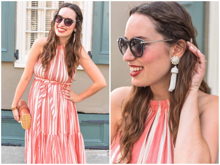 Accessorizing a red and white striped dress with white Lisi Lerch tassel earrings