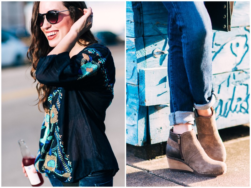Blogger Alice Kerley from Lone Star Looking Glass gives fall outfit inspiration by wearing a navy KAS New York Embroidered Top with Hammitt Reversible Bag and Dansko Wedges.