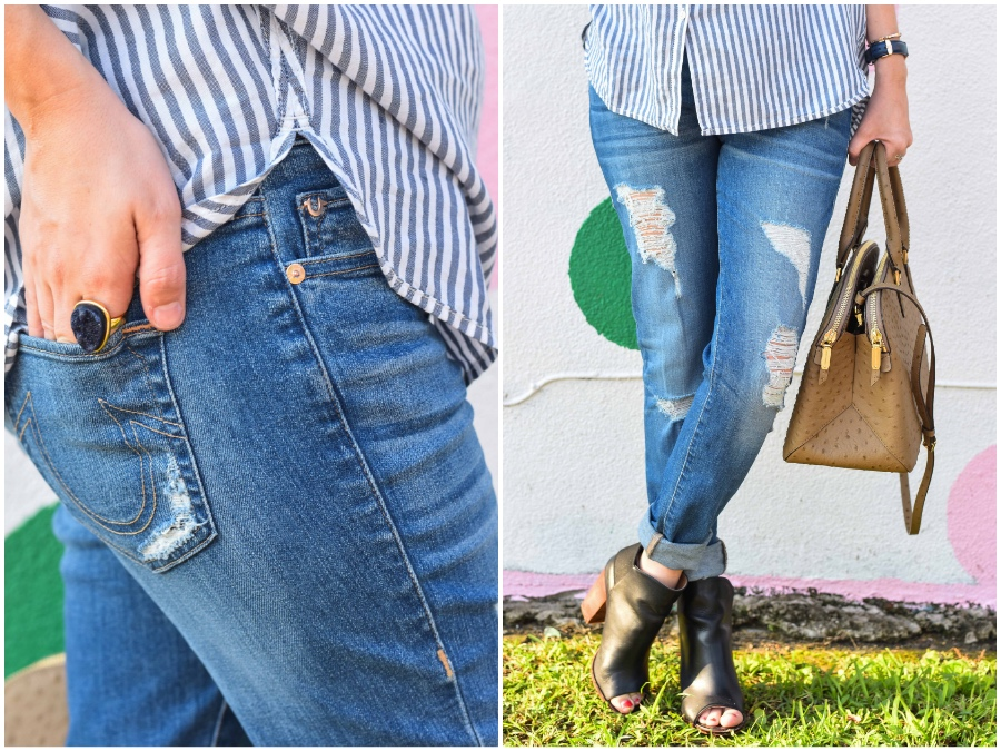 Alice of Lone Star Looking Glass shares tips on how to wear your regular jeans when you're pregnant in her true religion boyfriend jeans.