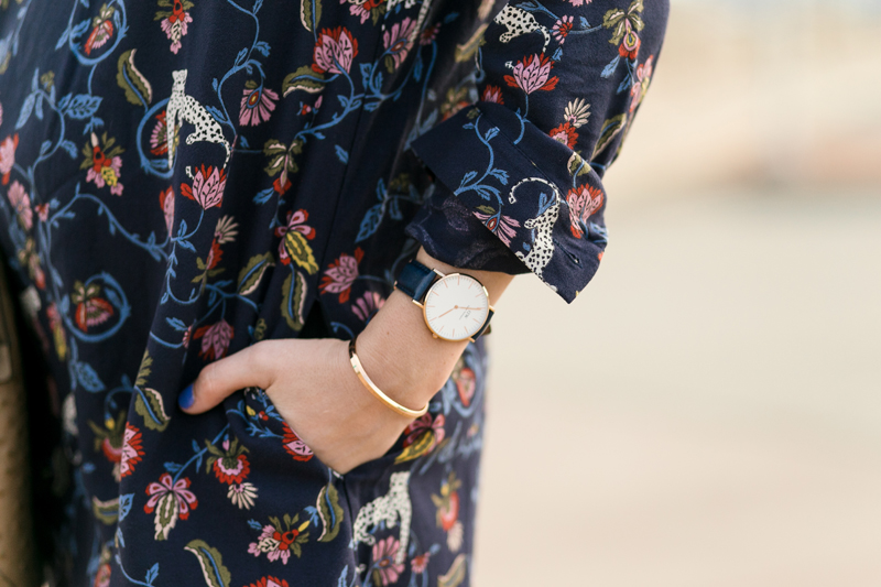 Fashion Blogger Alice Kerley styles the Indian Garden Dress by See by Chloe with a Daniel Wellingon Watch and Bracelet in Dallas, TX.