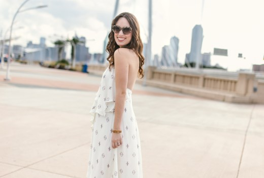 Texas fashion blogger Alice Kerley styles a purple and white Planet Blue maxi dress as a maternity dress.