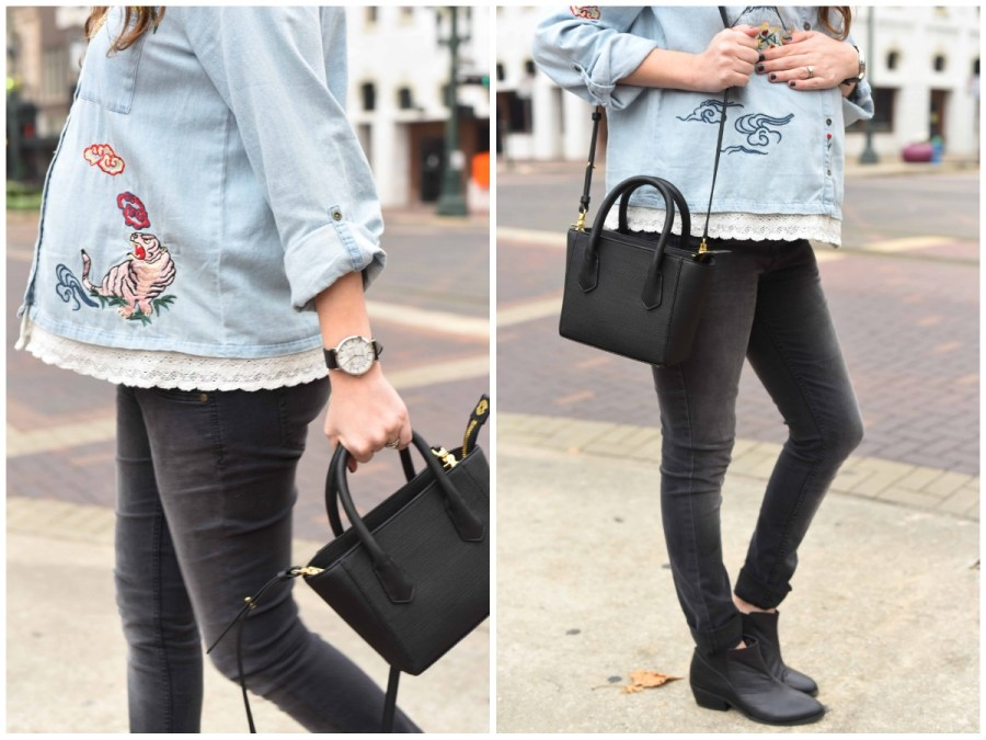 Houston fashion blogger styles the Dagne Dover mini tote with black jeans.