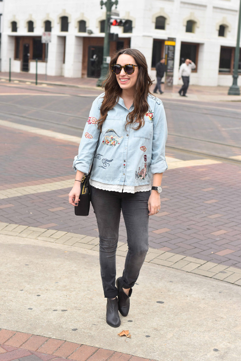 Houston blogger styles an embroidered denim buttondown from Anthropologie.