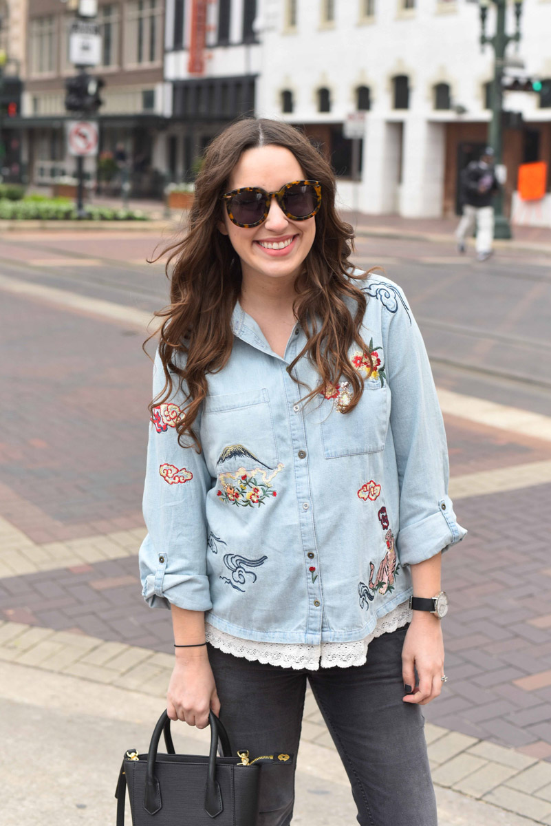 Houston blogger styles an embroidered denim buttondown from Anthropologie.