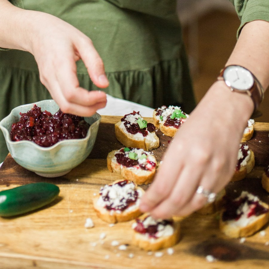 Holiday appetizer idea with a jalapeno cranberry chutney recipe served over cheese and crackers.