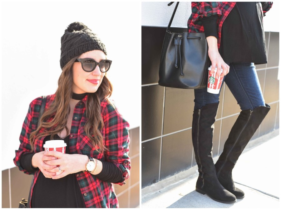 Texas fsahion blogger shares maternity outfit inspiration with a red plaid top, black tee, macys over the knee boots and a beanie.