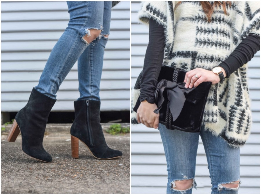 Houston fashion blogger styles sole society black ankle booties and an Ann Taylor velvet bow clutch for winter.