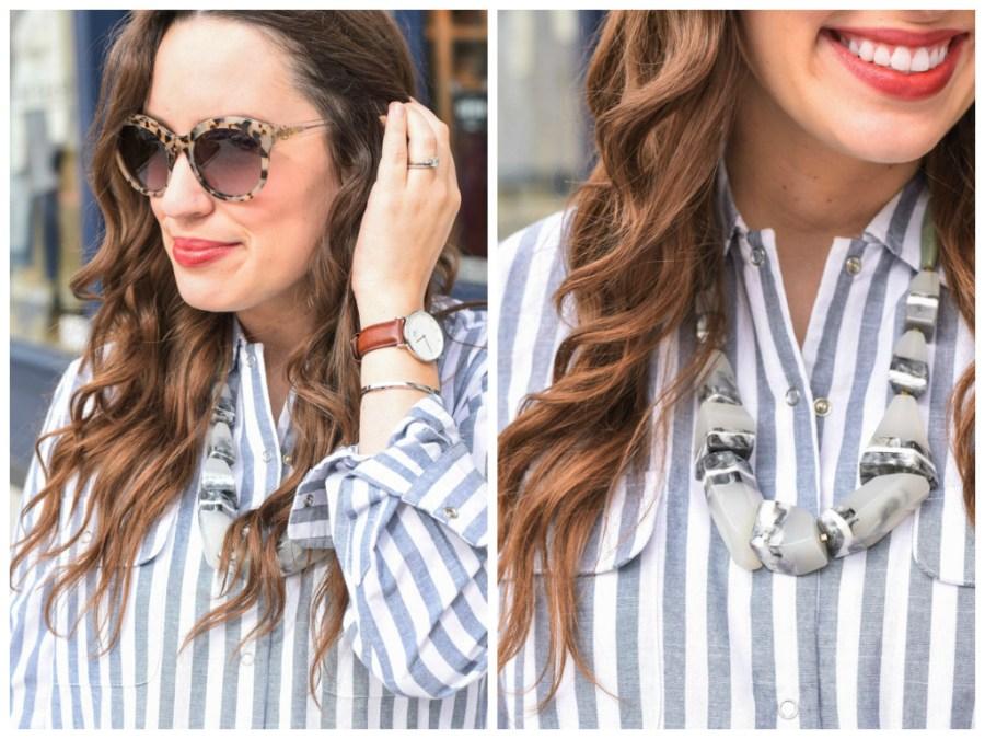 Houston fashion blogger styles a Daniel Wellington watch and cuff with a striped shirt dress.