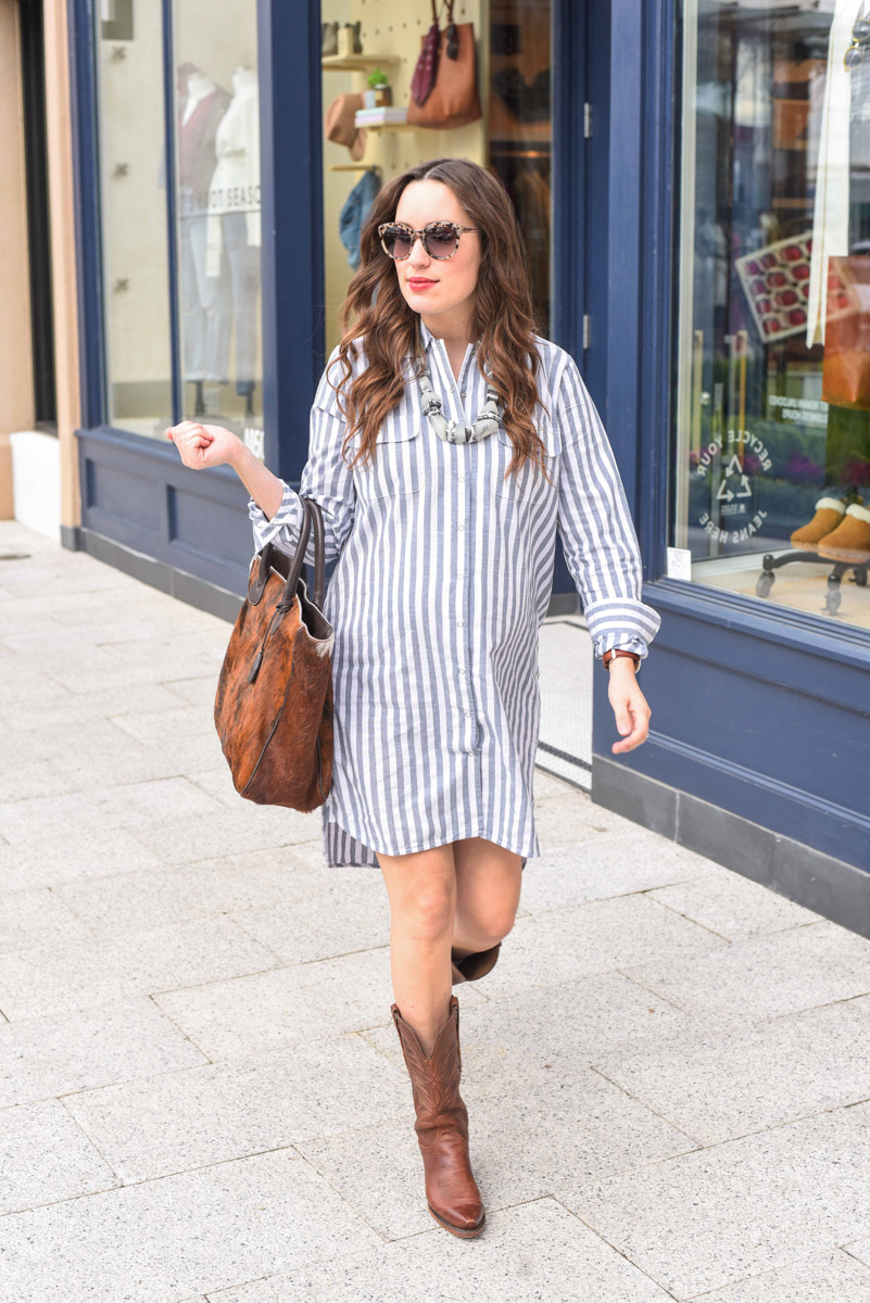 Houston fashion blogger styles a Legoe Heritage striped shirt dress with brown Lucchese cowboy boots.