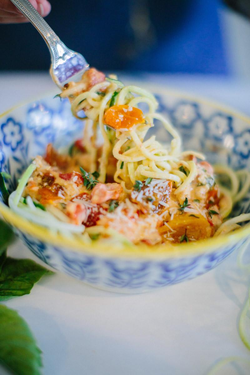 A recipe for creamy cajun zucchini noodle pasta with HEB's Veggie Noodle Co.
