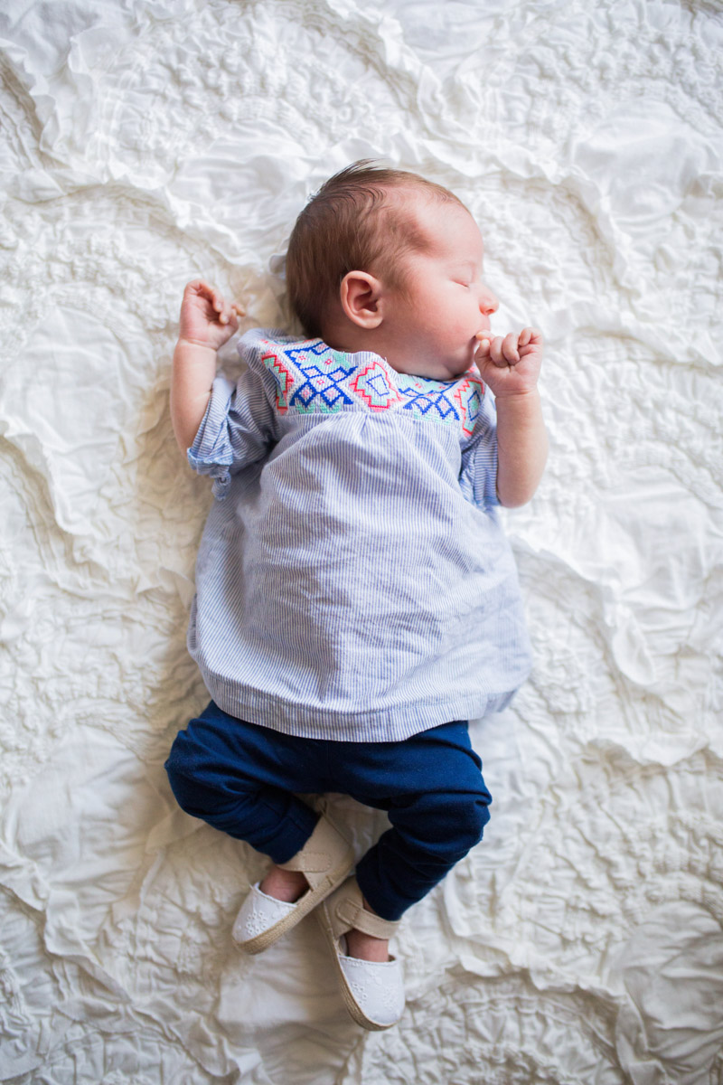 Spring baby girl outfits from Carter's. Embroidered top, navy leggings and baby espadrilles.
