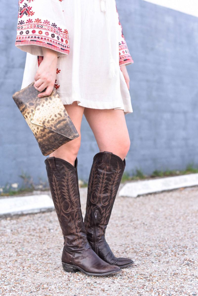 Old Gringo Mara Boots and Elaine Turner Snakeskin clutch