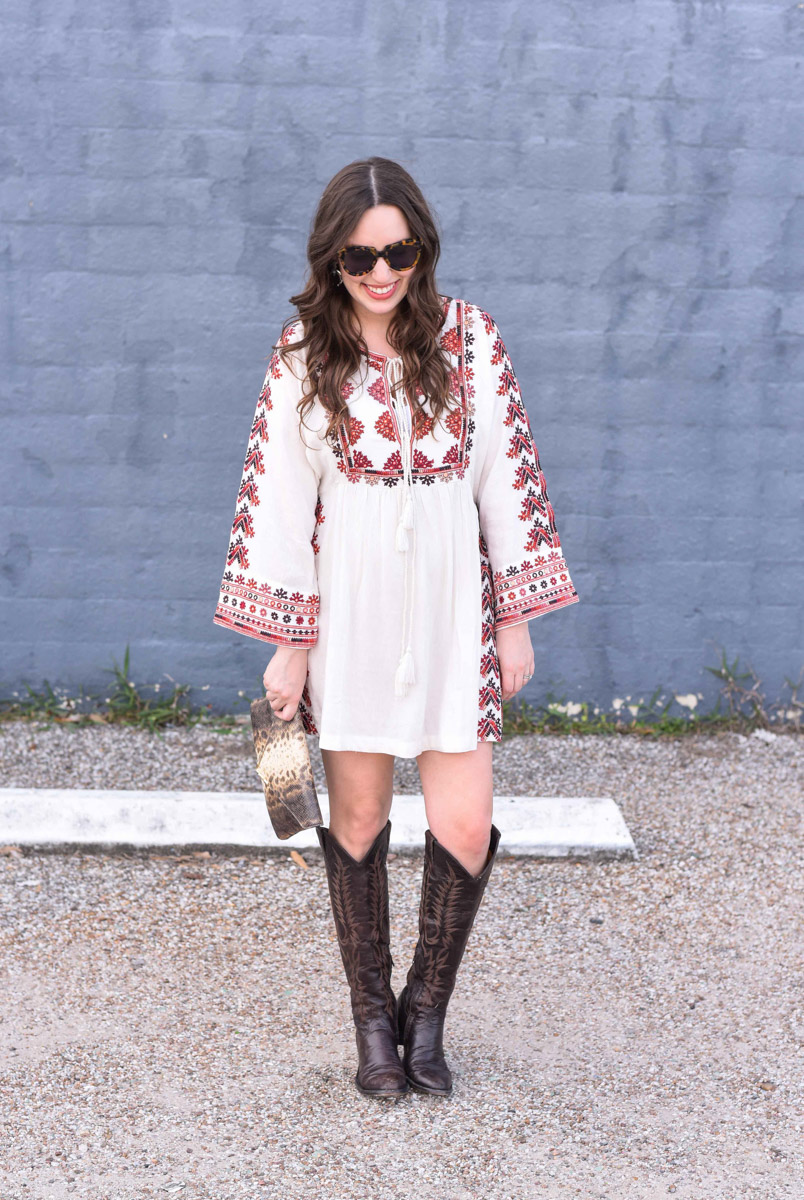 Free People Starlight Mini Dress with Old Gringo Mara Tall Cowboy Boots