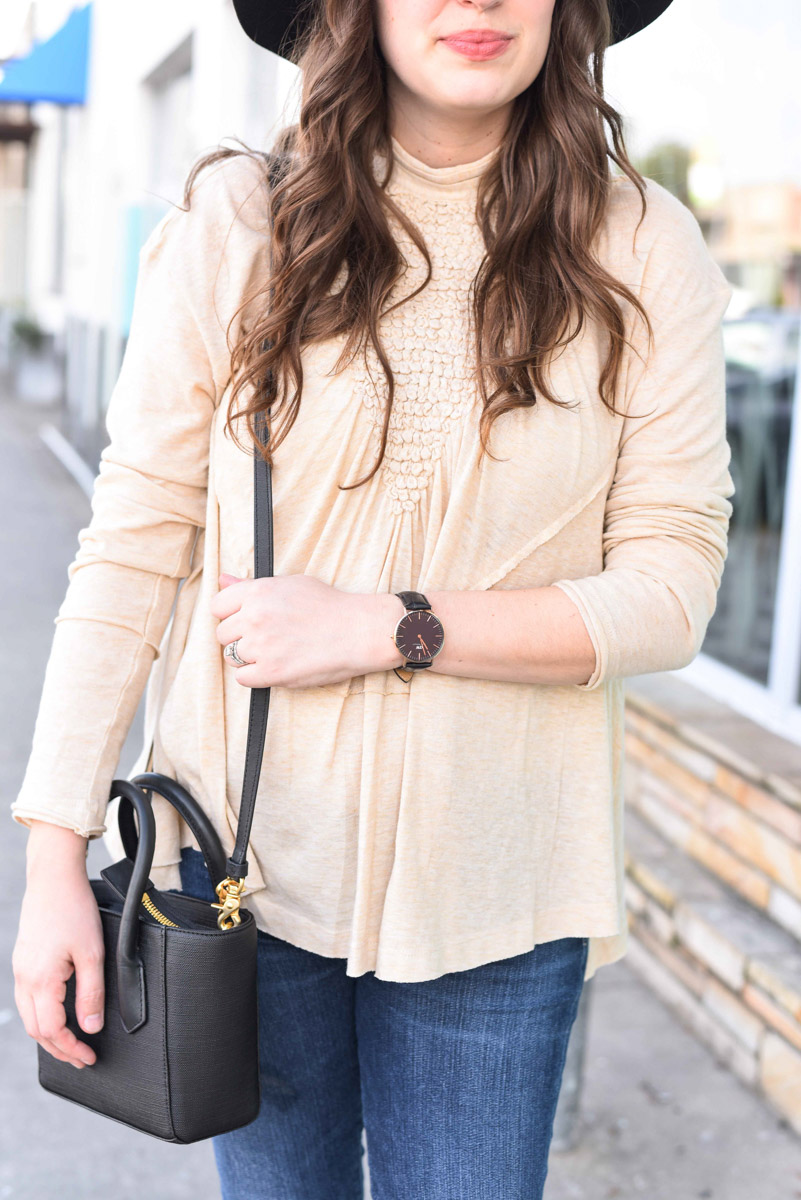 Free People High Neck Knit Top in Cream