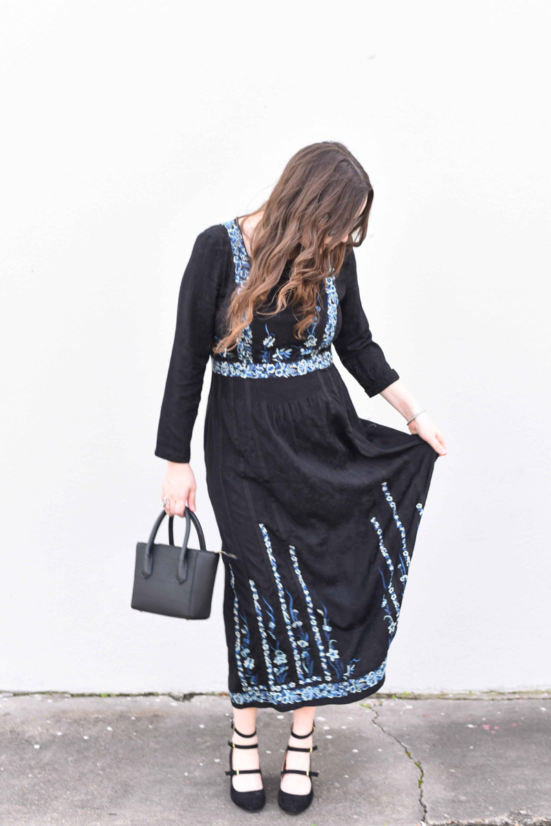 Houston fashion blogger styles French Connection's Argento Stitch Floral Embroidered Dress with Zooshoo Mary Jane Heels.