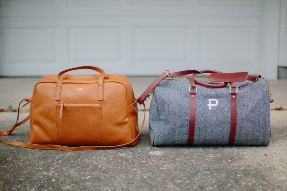 What to pack in your hospital bag with Mark and Graham's Daily Leather Overnighter.