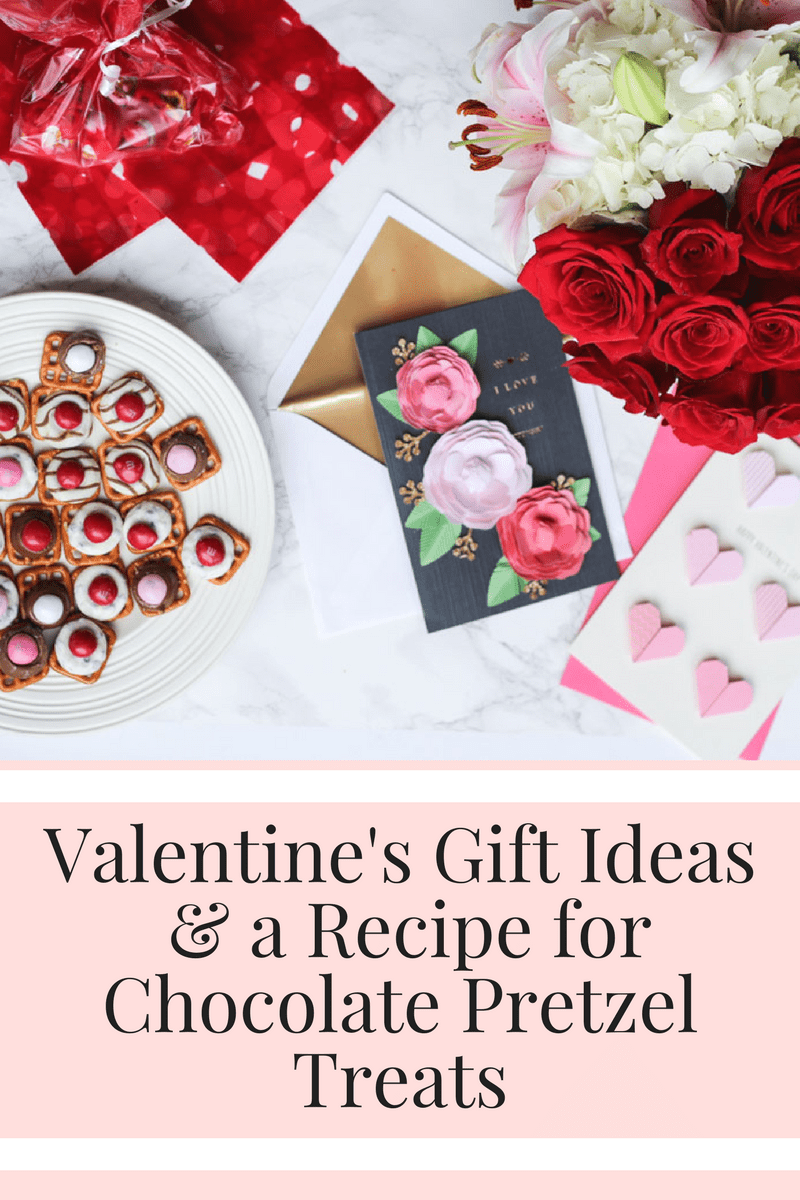 An easy Valentine's Day gift idea with homemade chocolate pretzel treats, cards and flowers from HEB.