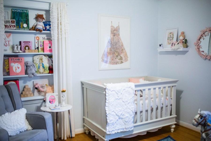 Ecelectic baby girl peach and blue nursery