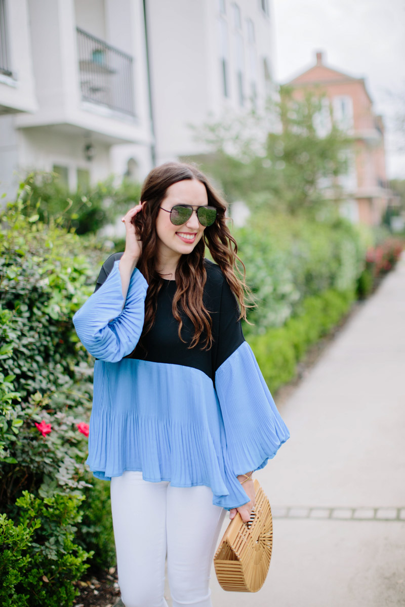 Blue and black color blocked bell sleeve top
