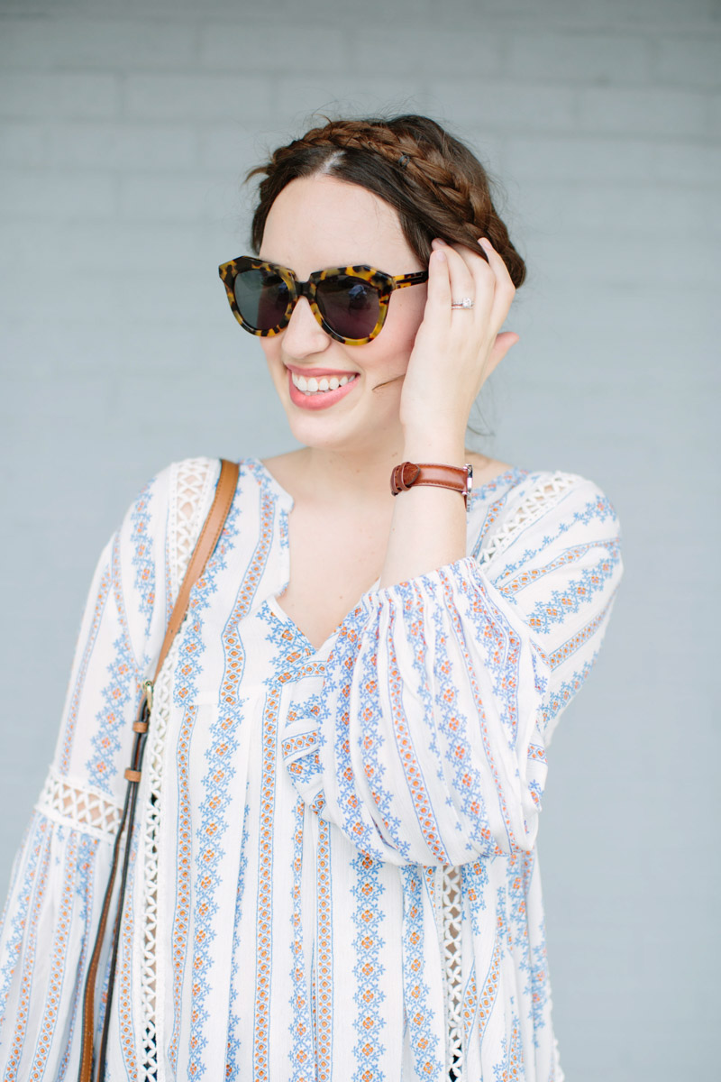 Boho Crown Braid with Chicwish Posie Tunic Top