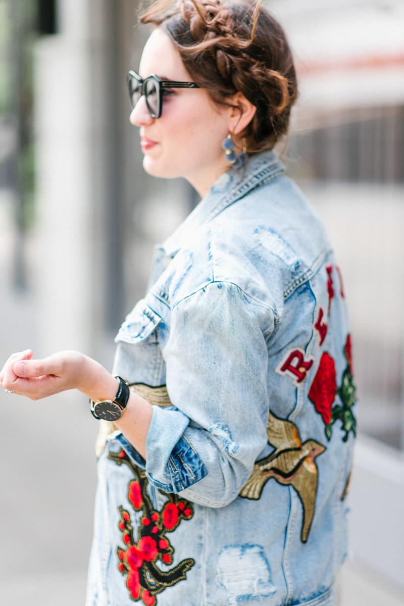 Houston_Blogger_Embroidered_Denim_Jacket_White_Lace_Dress-3