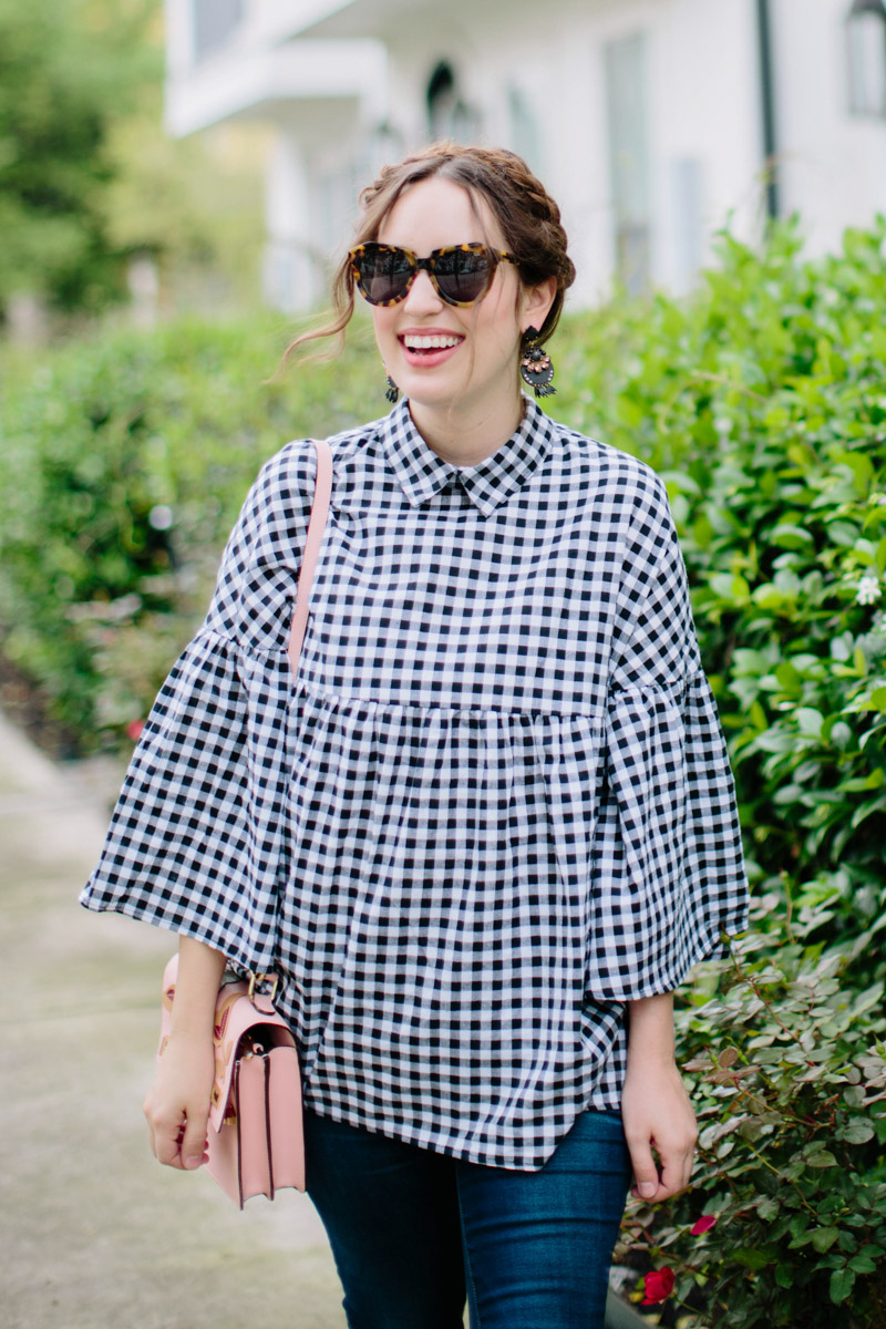 How to style a gingham tunic top. Gingham outfit ideas.