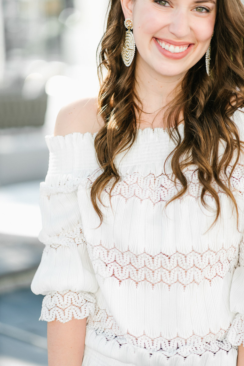 Anthropologie White Off the Shoulder Top