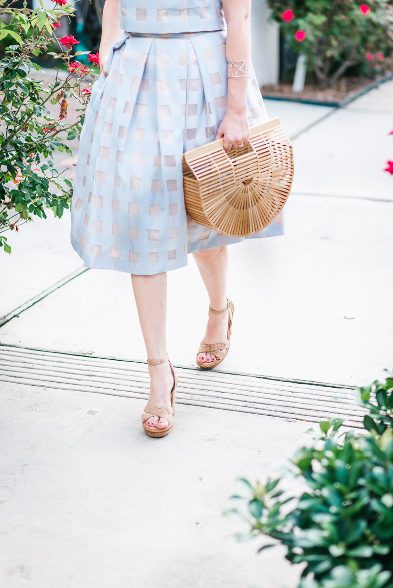Houston fashion blogger styles cork heels with the Cult Gaia bamboo bag.