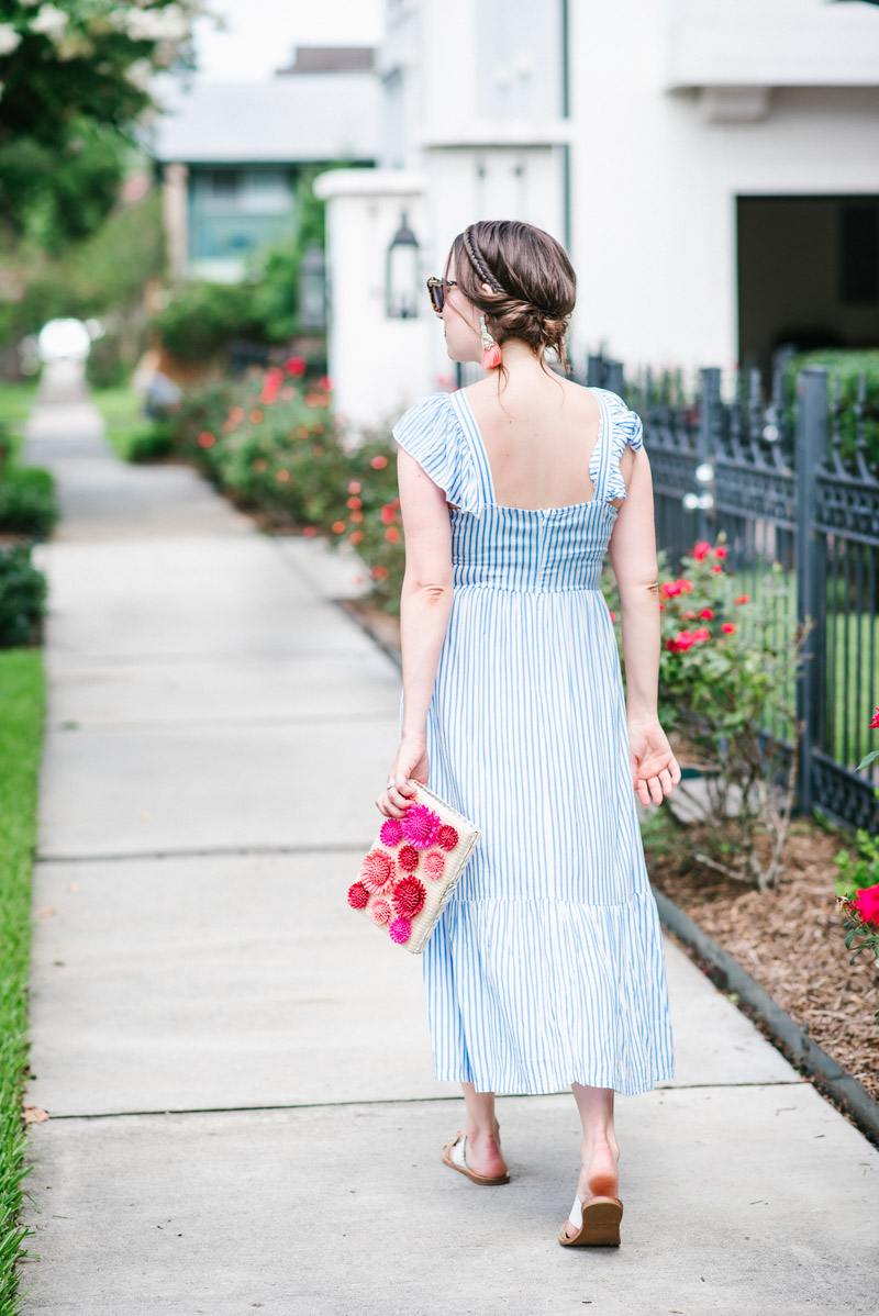 Summer Outfit inspiration in an Asos stripe frill front midi dress.