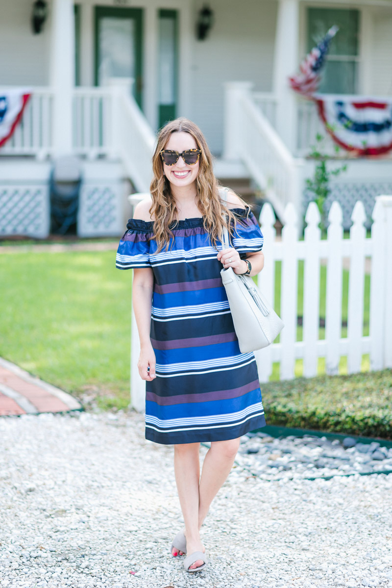 Banana Republic blue striped off the shoulder dress