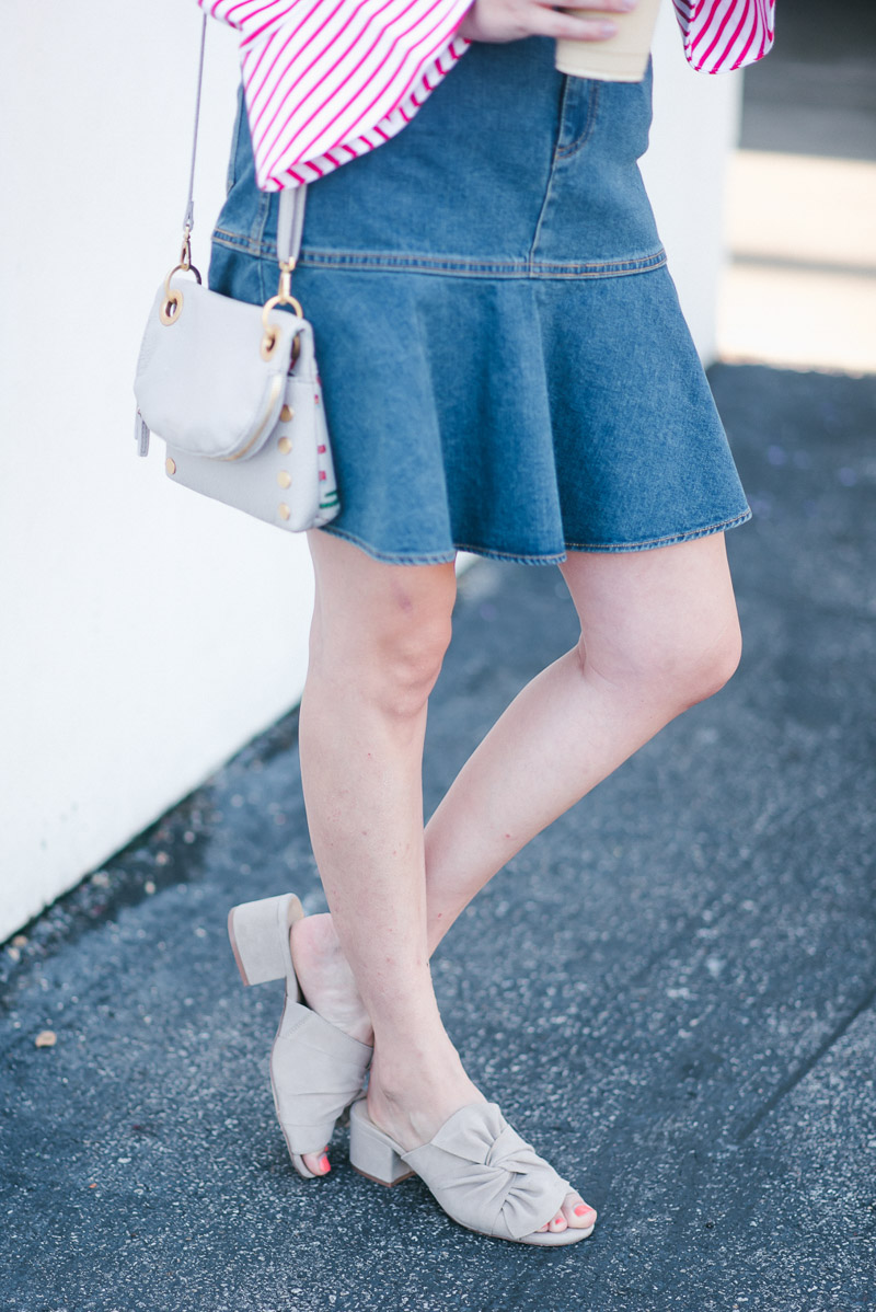 Fall Trends: denim skirts and bow mules.