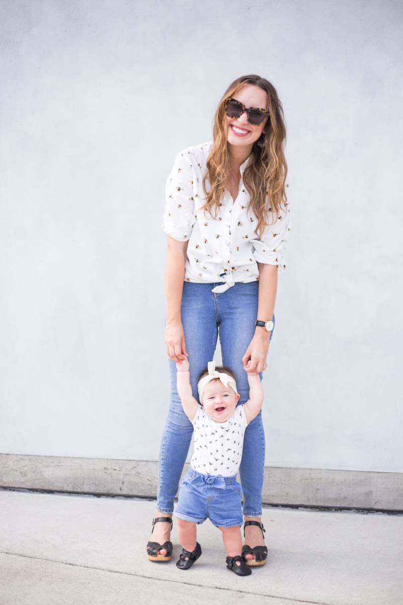 Mother daughter matching white bumblebee tops in Victoria Beckham for Target.
