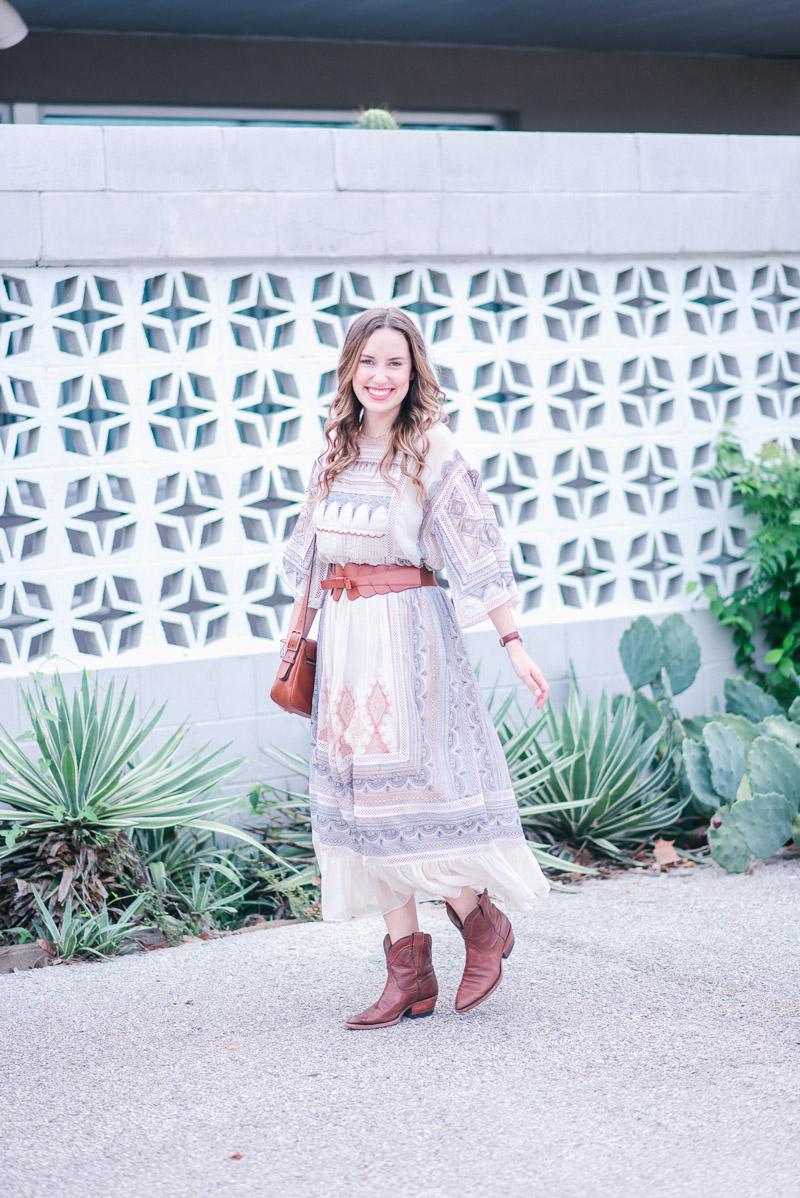 Texas blogger styles Anthropologie's Toronto Dress, a red, white & blue boho maxi dress.