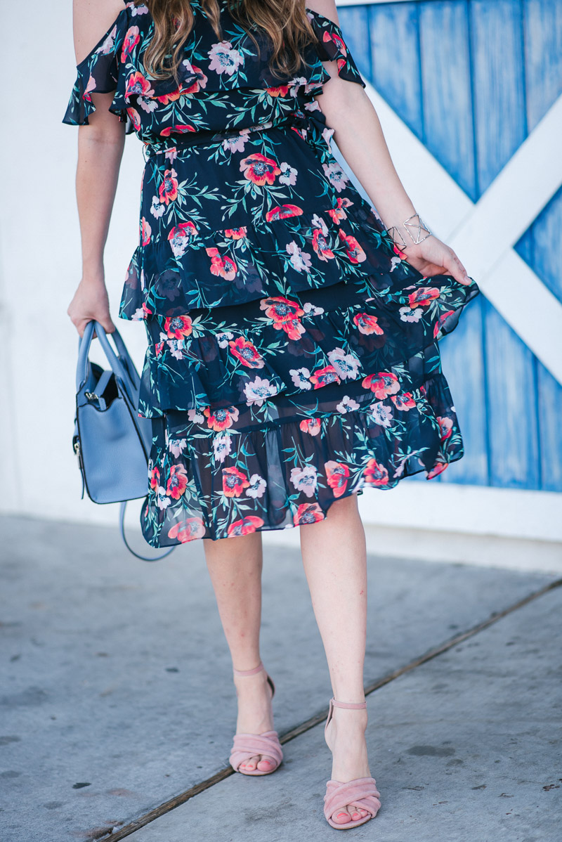 A floral dress for fall. Texas blogger styles an ruffled Eliza J floral sundress.