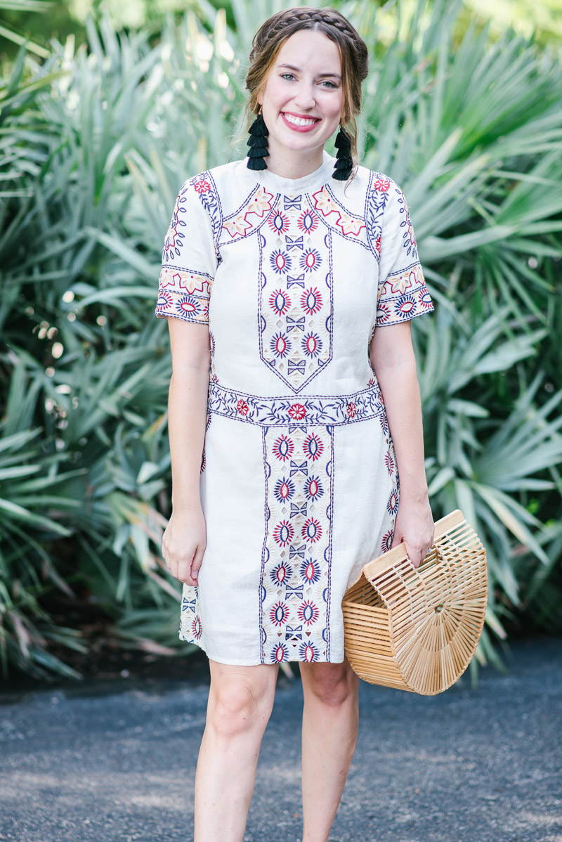 Texas fashion blogger styles a boho KAS New York Embroidered Dress with Swedish Hasbeens sandals and a cult gaia bag.