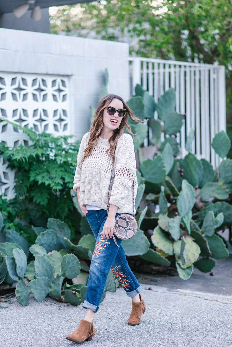 Anthropologie Cream Fisherman Sweater styled with Embroidered Pilcro Jeans