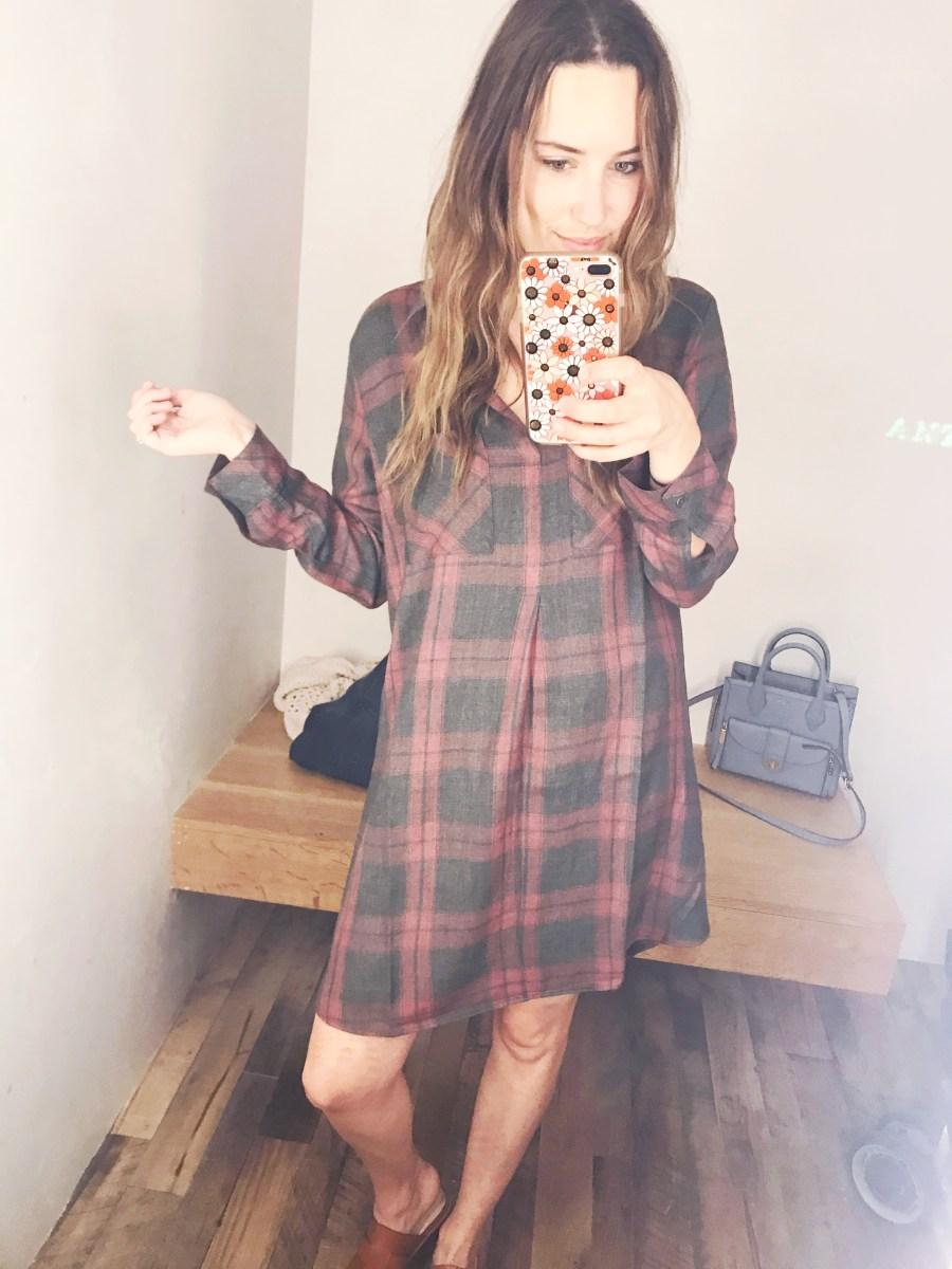 Anthropologie Plaid Shirt Dress