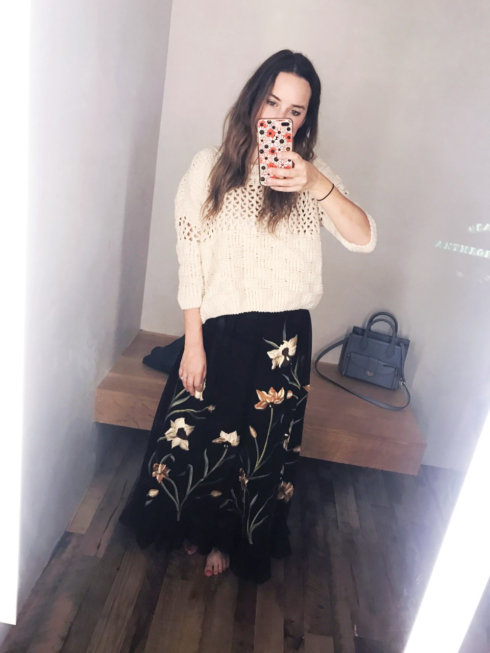 Anthropologie black embroidered maxi skirt.