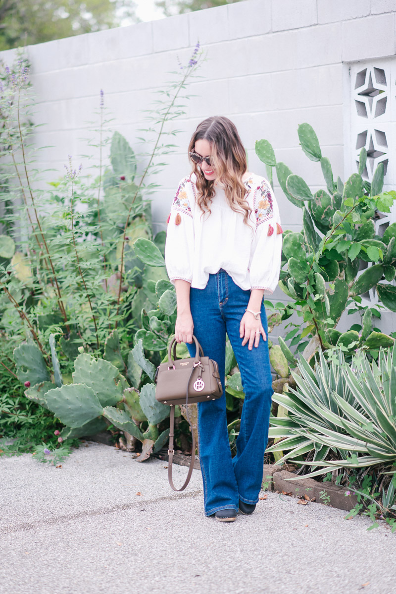 Houston blogger styles a boho blouse paired with Wrangler for ModCloth flares.