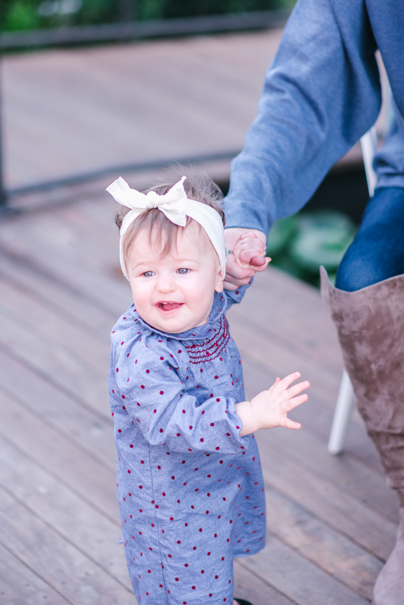 9-Month old in Boden Mini and Baby Bling Bows Headband