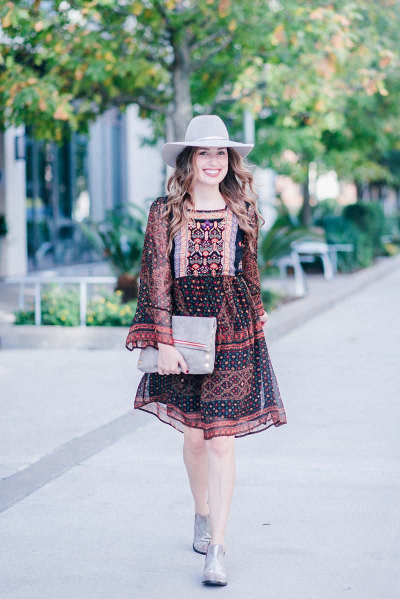 Anthropologie Fall Dress - Monroe Embroidered Tunic Dress with a Hammitt clutch and silver seychelles booties