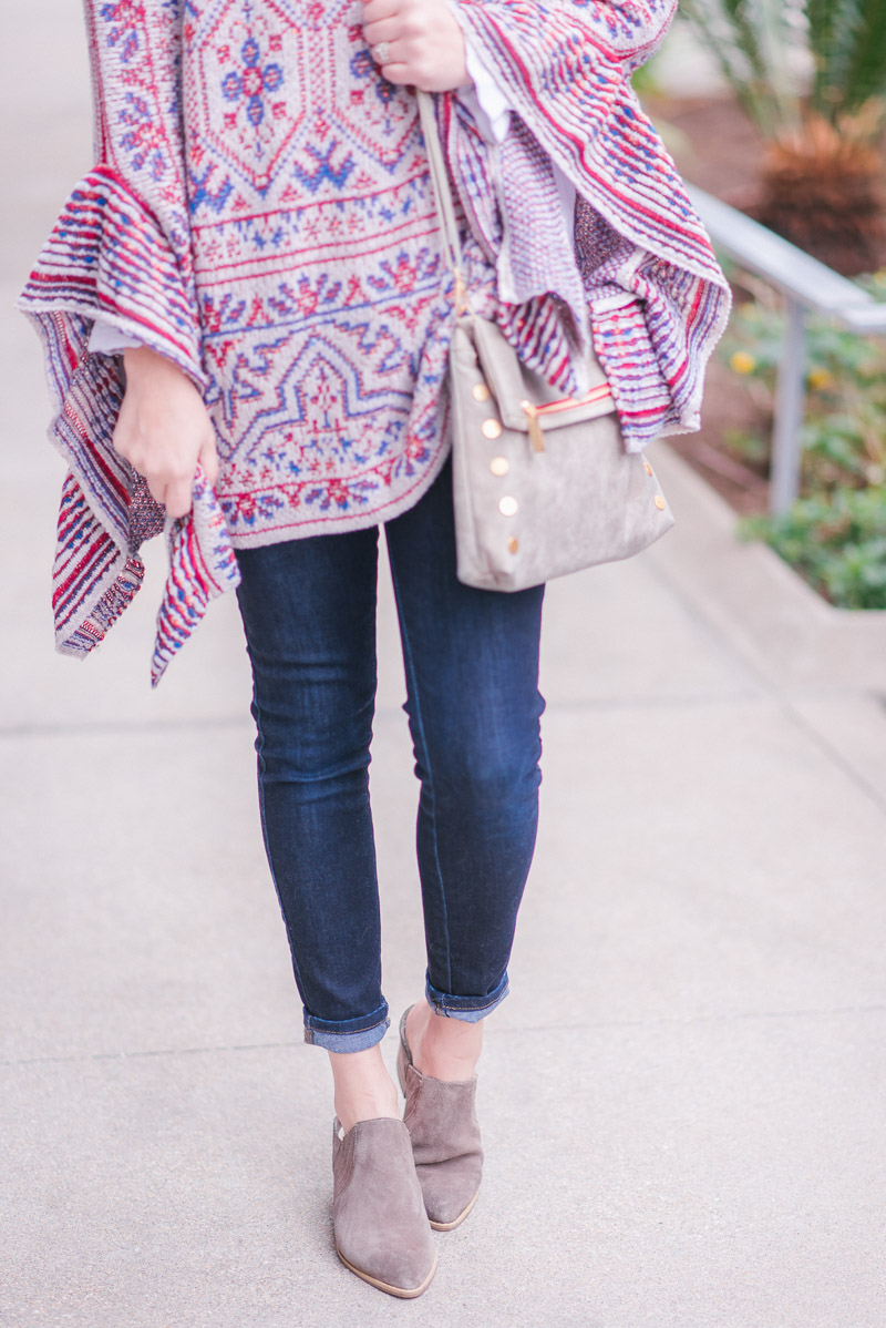 Houston fashion blogger Alice Kerley styles Secyhelles booties with a hammitt VIP clutch and an Anthropologie poncho.