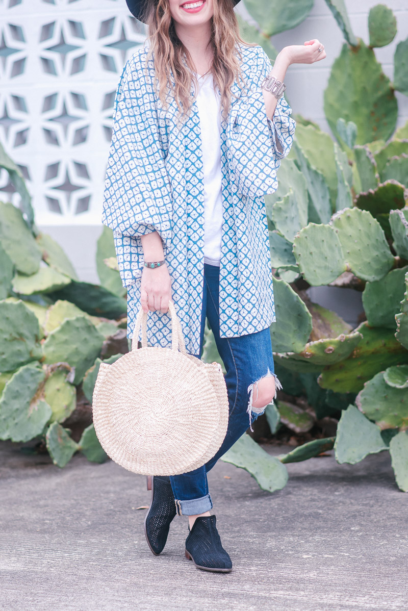 Clare V Alice Circle Bag Styled with a Boho Look