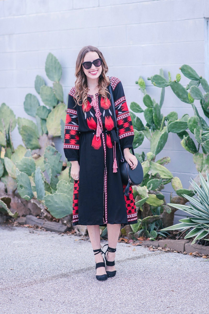 Red and black boho embroidered midi dress