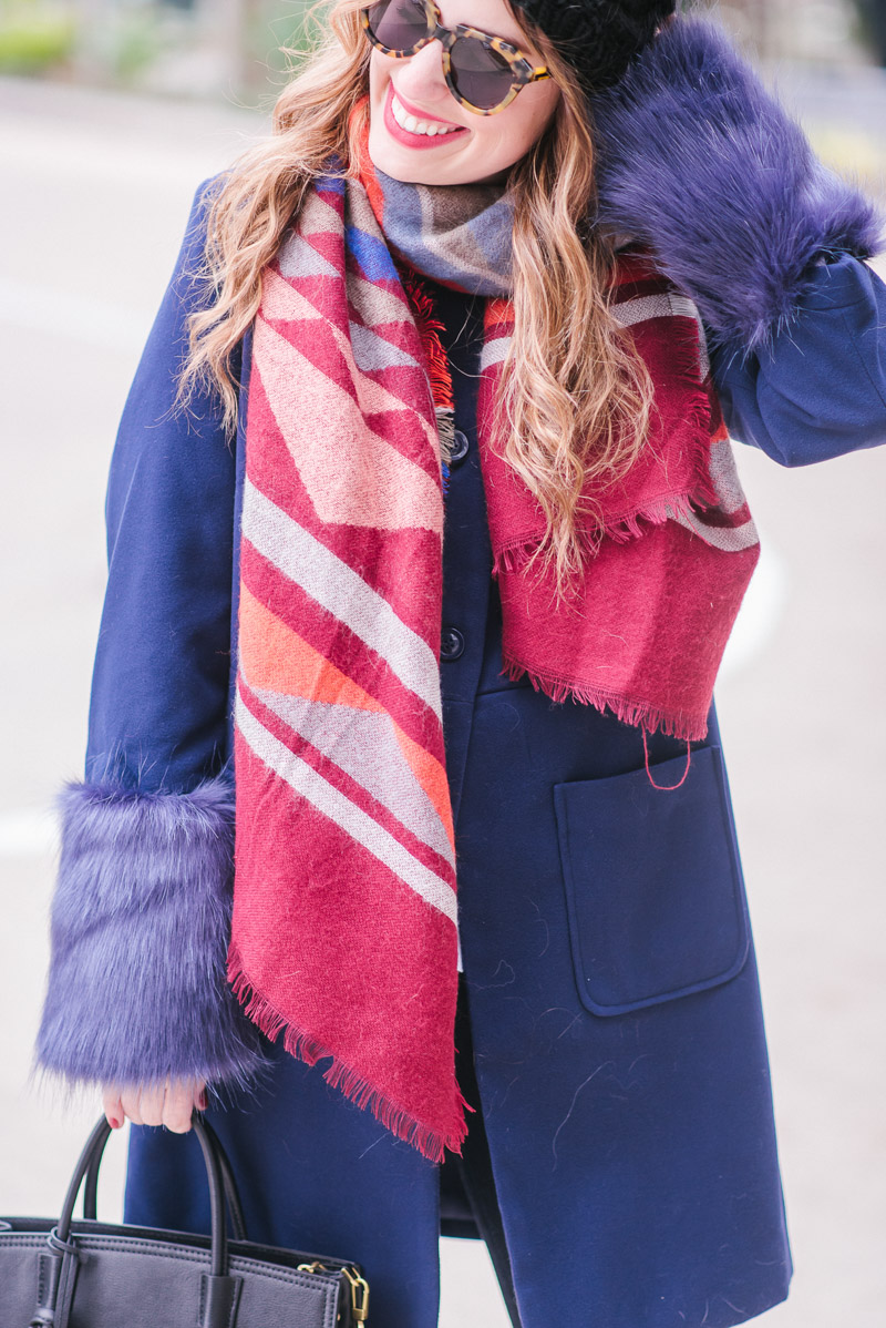 Winter Outfit Ideas: Cute Navy Fur Coat Styled for a Chilly Day