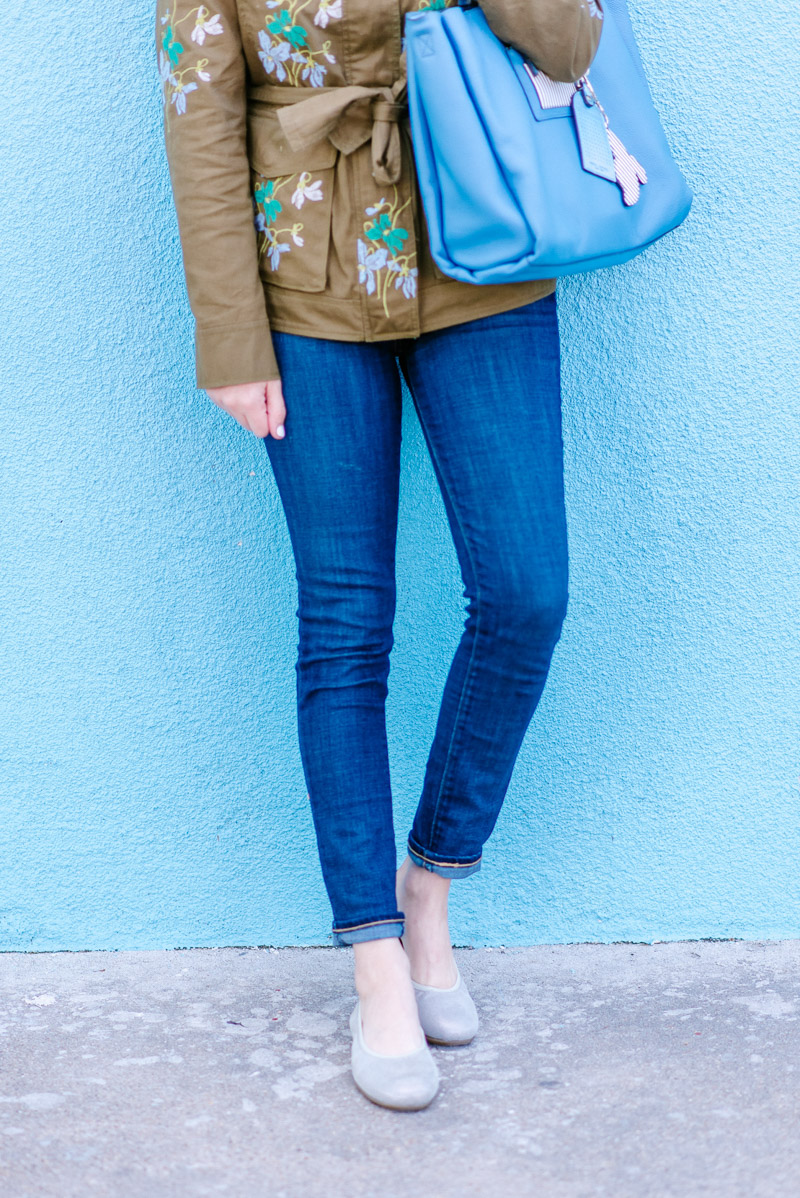 Don't you just love all of the embroidered details on this green safari  jacket? It's a recent Ann Taylor find and it is so great for layering with  jeans ...