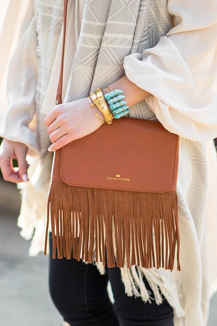 turquoise cuff, tassel purse