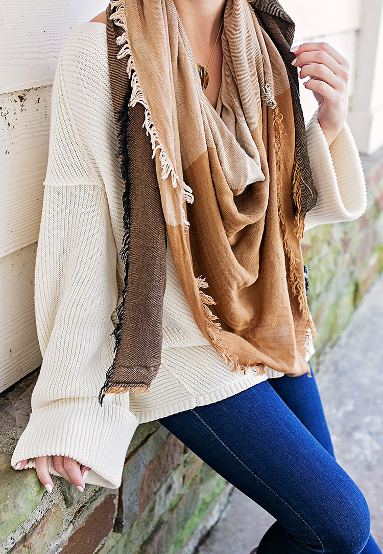 brown checkered blanket scarf