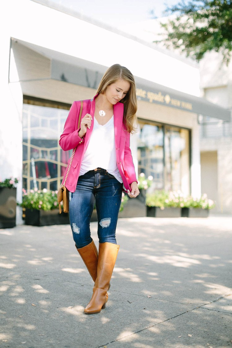 pink blazer, block monogram necklace, j.crew riding boots